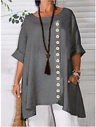 cheap -Women's Loose Short Mini Dress Apricot print Gray bottom printing Gray Apricot Half Sleeve Print Spring Summer Casual 2021 XL XXL XXXL 4XL 5XL / Cotton / Cotton