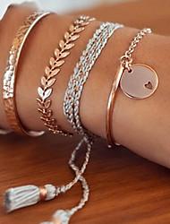 cheap -4pcs Women's Bracelet Geometrical Heart Stylish Simple Boho Alloy Bracelet Jewelry Golden For Daily Promise