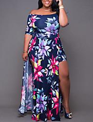 cheap -Women's Plus Size Dress Swing Dress Maxi long Dress Half Sleeve Floral Graphic XL 2XL 3XL 4XL 5XL