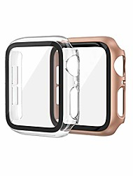 cheap -Smart watch Case 2 pack hard pc case compatible with apple watch series 6 se 5 4 40mm women men, overall pc case slim tempered glass screen protector protective cover for apple iwatch 40mm se