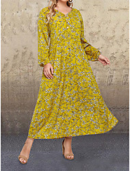 cheap -Women's Plus Size Dress Swing Dress Maxi long Dress Long Sleeve Print Casual Spring Summer Yellow XL 2XL 3XL 4XL 5XL