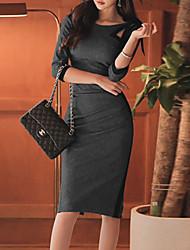 cheap -Women's Sheath Dress Knee Length Dress Gray 3/4 Length Sleeve Solid Color Fall Spring Elegant 2021 XL XXL 3XL 4XL 5XL