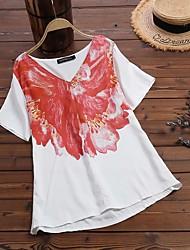 cheap -Women's Plus Size Tops Blouse Shirt Floral Short Sleeve V Neck Flowers Red Big Size L XL XXL 3XL 4XL