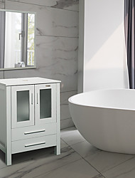 cheap -MDF Mid-Century Bathroom Vanity Combo Freestanding Bath Cabinet Modern Single Sink with Cultured Marble Countertop Mirror Included- Gray Furniture