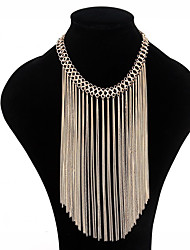 cheap -tassel necklace female texture multilayer metal chain accessories prom party