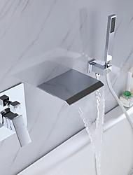 cheap -Bathtub Faucet - Contemporary Electroplated Wall Installation Ceramic Valve Bath Shower Mixer Taps / Brass