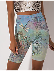 cheap -Women's Stylish Athleisure Breathable Soft Biker Shorts Skinny Beach Fitness Pants Flower / Floral Animal Knee Length Print Green