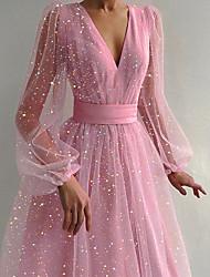 cheap -Women's Swing Dress Midi Dress Yellow Blushing Pink Short Sleeve Print Summer V Neck Hot Elegant Sexy 2021 S M L XL / Party