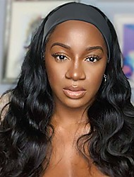 """cheap -long wavy headband wigs for black women, 24"""" long black body loose wave curly brunette wig with headband attached, synthetic wigs for black women natural looking none lace replacement wig easy to wear"""