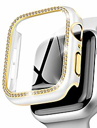 cheap -falandi rhinestones golden edge white case hd with tempered glass screen protector for apple watch case 40mm series 6/ se/ 5/ 4, rugged overall protective hard cover for iwatch (white,40mm)