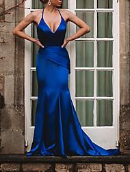 cheap -Mermaid / Trumpet Beautiful Back Sexy Engagement Formal Evening Dress V Neck Spaghetti Strap Sleeveless Sweep / Brush Train Charmeuse with Ruched 2021