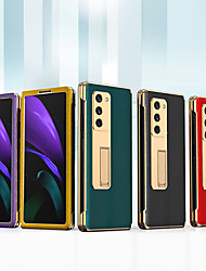 cheap -Flip PU Leather Phone Case For Samsung Galaxy Z Fold 2 Plating Camera Lens Protector PU Leather Shell with Phone Holder Stand