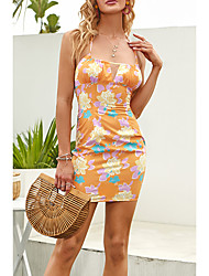 cheap -Women's Strap Dress Short Mini Dress Orange Sleeveless Floral Print Summer Boat Neck Casual Holiday 2021 XS S M L