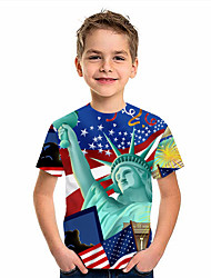 cheap -Kids Boys' T shirt Short Sleeve American flag 3D Print Graphic Flag Print Blue Children Tops Summer Active Daily Wear Regular Fit 4-12 Years