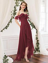 cheap -A-Line Off Shoulder Floor Length Chiffon Bridesmaid Dress with Pleats / Ruffles / Split Front