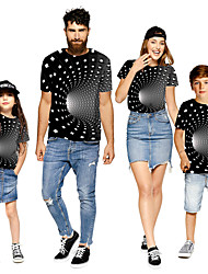 cheap -Family Look Black Active Graphic Optical Illusion Print Short Sleeve Family Sets