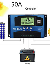 cheap -MPPT Solar Charge Controller 12V 24V Solar Power Regulator Dual USB Auto LCD Display Discharger PWM 50A