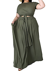 cheap -Women's Plus Size Dress Two Piece Dress Maxi long Dress Short Sleeve Graphic U Neck Hot Spring Summer Black And White Blue and White Yellow and white XL 2XL 3XL 4XL 5XL