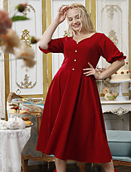 cheap -A-Line Plus Size Elegant Party Wear Cocktail Party Dress V Neck Half Sleeve Tea Length Stretch Fabric with Buttons 2021