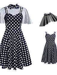 cheap -Audrey Hepburn 1950s Vintage Vacation Dress Summer Dress A Line Dress Prom Dress Women's Costume Navy Blue Vintage Cosplay Homecoming Prom Daily Wear Short Sleeve Knee Length