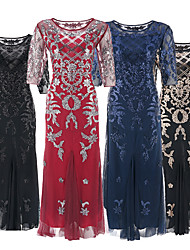 cheap -The Great Gatsby Charleston Retro Vintage Roaring 20s 1920s Vacation Dress Dress Halloween Costumes Prom Dresses Women's Sequins Tassel Fringe Costume Black+Golden / Almond / Wine Vintage Cosplay