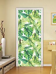 "cheap -2pcs Self-adhesive Creative Door Stickers Banana Leaf Living Room Diy Decoration Home Waterproof Wall Stickers 30.3""x78.7""(77x200cm), 2 PCS Set"