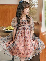 cheap -Kids Little Girls' Dress Flower Birthday Festival As Picture Knee-length Short Sleeve Sophisticated Dresses Summer 4-13 Years