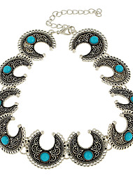 cheap -turquoise necklace bohemian necklace antique silver horn design inlaid necklace