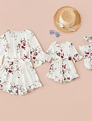 cheap -Romper Mommy and Me Cotton Floral Daily Print White Beige Short Sleeve Above Knee Daily Matching Outfits