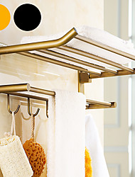 cheap -Bathroom Towel Bar Multifunction Bathroom Shelf Double-layer with Hooks Antique Brass Wall Mounted Punchable 1pc
