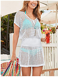 cheap -spring and summer amazon new beach blouse knitted bikini sunscreen shirt loose solid color hollow short skirt