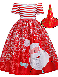 cheap -Snowman Flapper Dress Dress Party Costume Girls' Movie Cosplay Cosplay Red Blue Dress Hat Christmas Halloween New Year Polyester