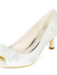 cheap -Women's Wedding Shoes Kitten Heel Peep Toe Lace Bowknot Sparkling Glitter Floral White Light Purple Ivory
