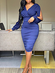 cheap -Women's Sheath Dress Knee Length Dress Yellow Fuchsia Dark Purple Orange Navy Blue Long Sleeve Solid Color Ruched Fall Spring V Neck Work Casual Regular Fit 2021 S M L XL XXL XXXL / Party
