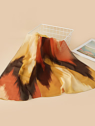 cheap -Women's Chiffon Scarf Holiday Coffee Scarf Color Block / Yellow / Orange / Polyester