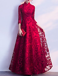 cheap -A-Line Chinese Style Vintage Prom Formal Evening Dress Stand Collar 3/4 Length Sleeve Floor Length Tulle with Pleats Appliques 2021