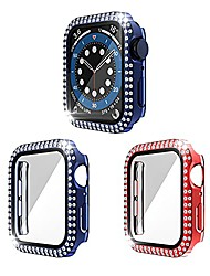 cheap -Smart watch Case [2 pack] screen protector compatible with apple watch series 38mm 42mm 40mm 44mm double bling crystal diamond rhinestone ultra-thin bumper full cover protective case ( 40mm)