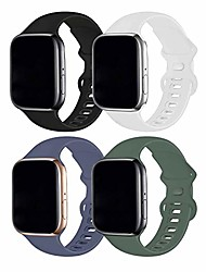 cheap -ruoqini 4 pack compatible with apple watch band 38mm 40mm,sport silicone soft replacement band compatible for apple watch series se/6/5/4/3/2/1 [s/m size - black/pine green/white/lavender gray]