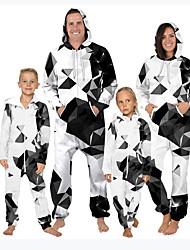cheap -Family Look White Daily Color Block Geometric Print Long Sleeve Pajamas