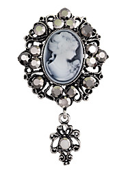 cheap -jewelry brooches, retro beauty heads, crystal brooches, alloy diamond-encrusted accessories brooches