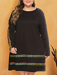cheap -Women's Plus Size Dress Shift Dress Knee Length Dress Long Sleeve Color Block Casual Spring Black XL XXL 3XL 4XL 5XL