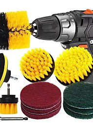 cheap -11pcs Electric Scourer Brush Plastic Round Cleaning Brush Kit For Glass Carpets Car Tires Nylon Brushes