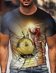 cheap -Men's Tee T shirt Shirt 3D Print Graphic Prints Football Soccer Football player Print Short Sleeve Daily Tops Casual Designer Big and Tall Gold / Summer
