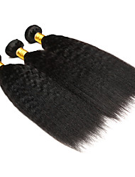 cheap -Ishow 3 Bundles Human Hair Weaves Brazil Hair 100% Human Hair 3 Pieces Yaki Straight Human Hair Combination Outfit 8-28 Inch Hair Extensions