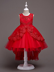 cheap -Ball Gown Asymmetrical Flower Girl Dresses Party Lace Sleeveless Jewel Neck with Bow(s)