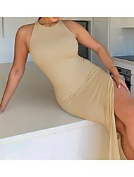 cheap -Women's Sheath Dress Knee Length Dress Cotton 95% polyester fiber 5% Maximum code weight: 0.205KG Fabric: Michigan khaki Black Sleeveless Solid Color Summer Casual 2021 S M L