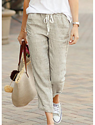 cheap -Women's Basic Comfort Lightweight Linen / Cotton Blend Linen Loose Causal Daily Holiday Chinos Pants Solid Colored Drawstring Black Green Beige Light Blue