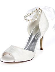 cheap -Women's Wedding Shoes Stiletto Heel Peep Toe Wedding Pumps Wedding Lace Pearl Ribbon Tie Floral Light Purple Ivory White