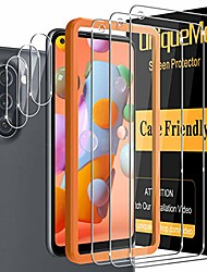 cheap -[ 6 pack ] uniqueme 3 pack screen protector + 3 pack camera lens protector tempered glass for samsung galaxy a11,[case friendly] [alignment frame easy installation] hd clear anti-scratch film