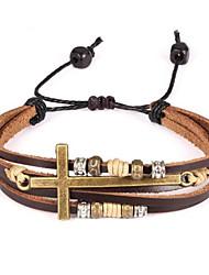 cheap -Men's Bracelet Retro Love Vintage Hard Leather Bracelet Jewelry Dark Brown For Wedding Daily